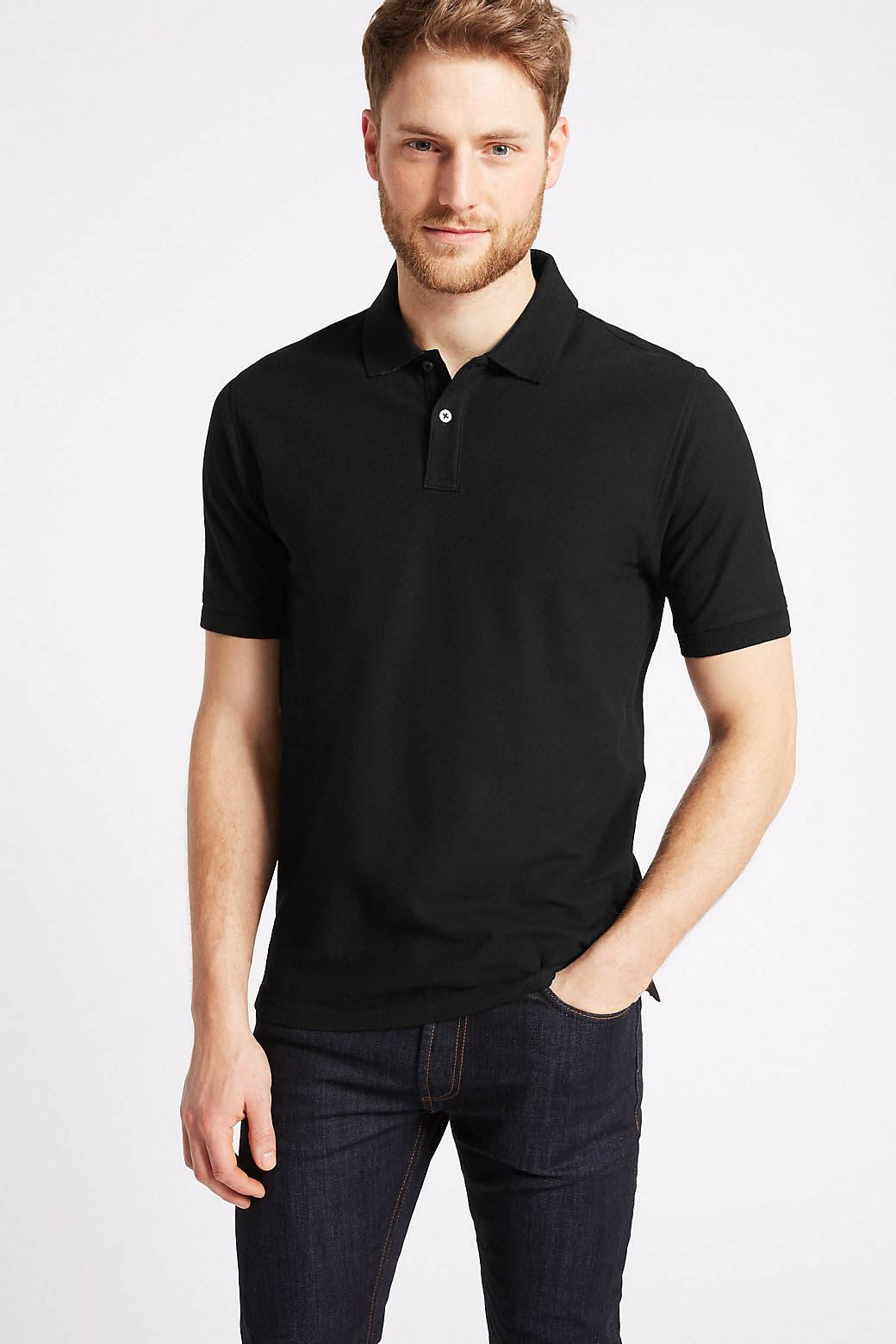 Ex-Marks-and-Spencer-Mens-Cotton-Pique-Polo-Shirt-NEW-Sizes-S-3XL thumbnail 6