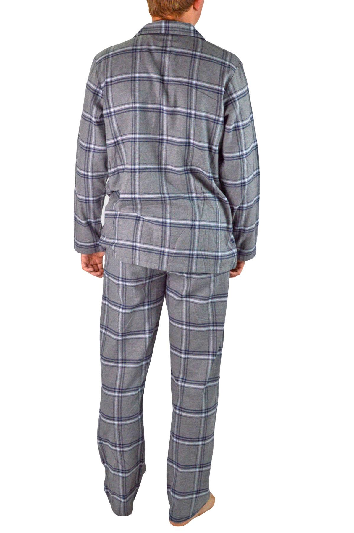 NEW-Mens-Brushed-Pure-Cotton-Check-Pyjamas-Flannelette-PJ-Set-in-Blue-Red-Grey thumbnail 9