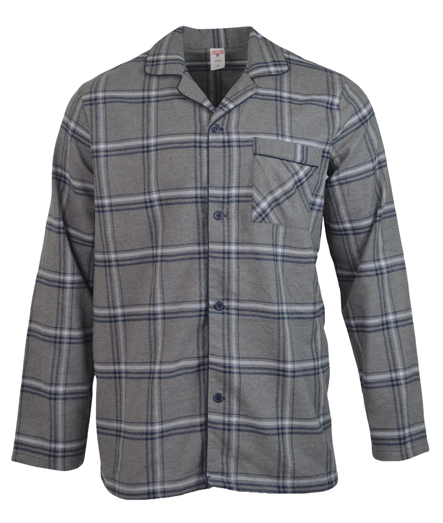 NEW-Mens-Brushed-Pure-Cotton-Check-Pyjamas-Flannelette-PJ-Set-in-Blue-Red-Grey thumbnail 10