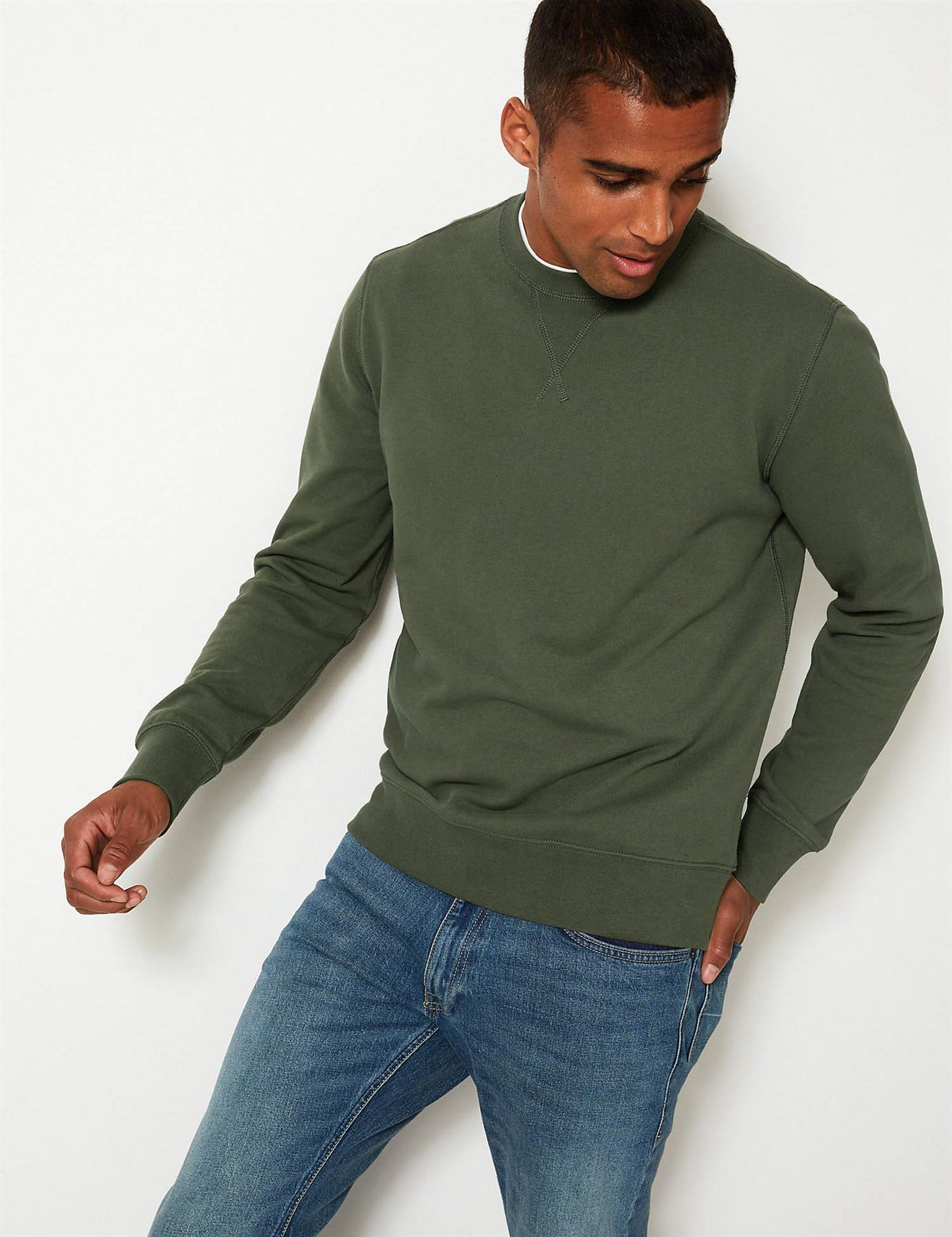 Ex-M-amp-S-Mens-Cotton-Crew-Neck-Sweatshirt-Marks-amp-Spencer-Size-S-3XL thumbnail 19