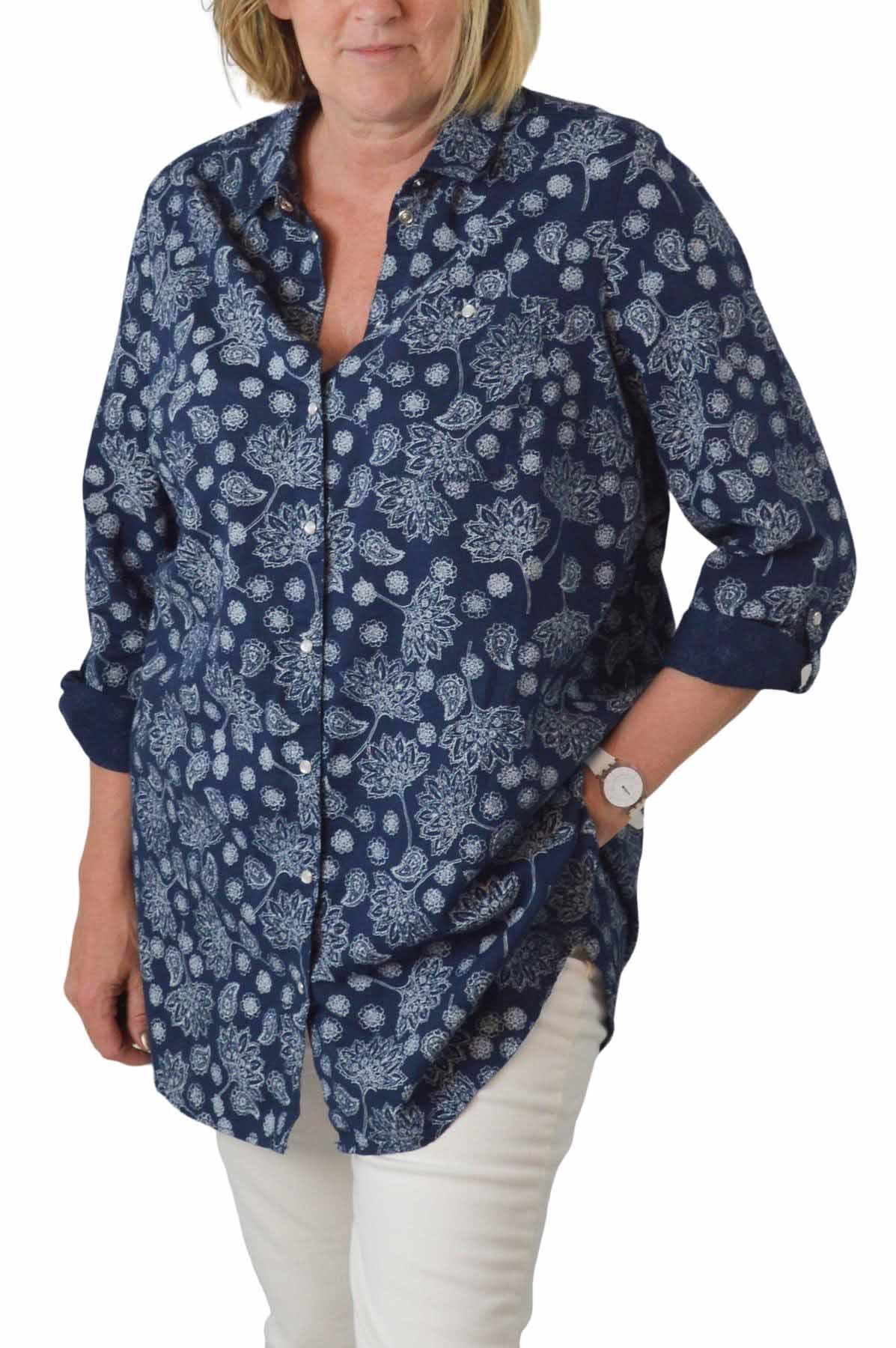 NEW-Ex-C-amp-A-Ladies-Navy-Ivory-Floral-Long-Linen-Shirt-Curved-Hem-Size-16-34 thumbnail 8