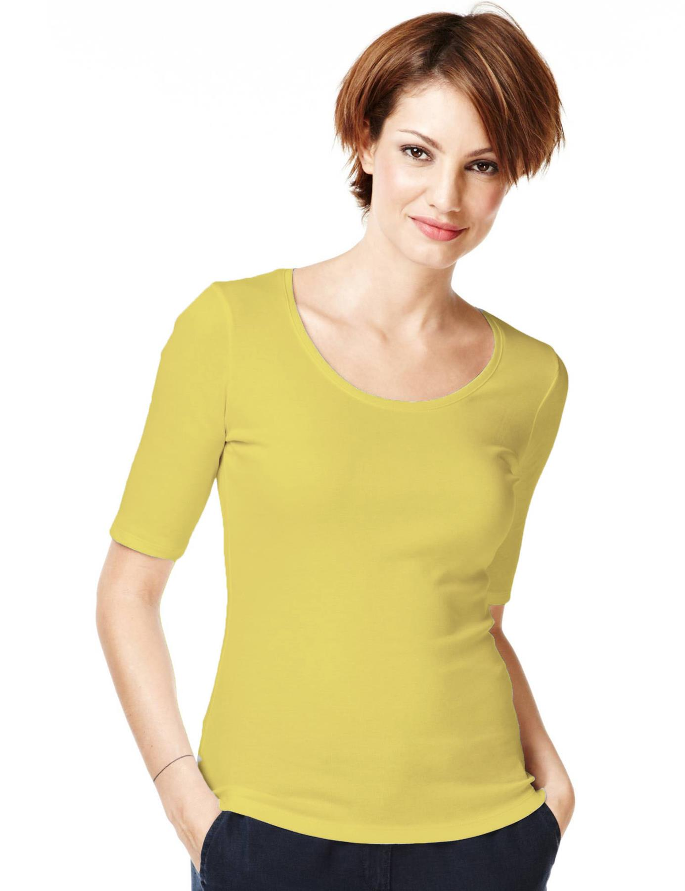 Ladies-Scoop-Neck-Half-Sleeve-T-Shirt-New-ex-M-amp-S-Casual-Regular-Fit-Size-8-22 thumbnail 19
