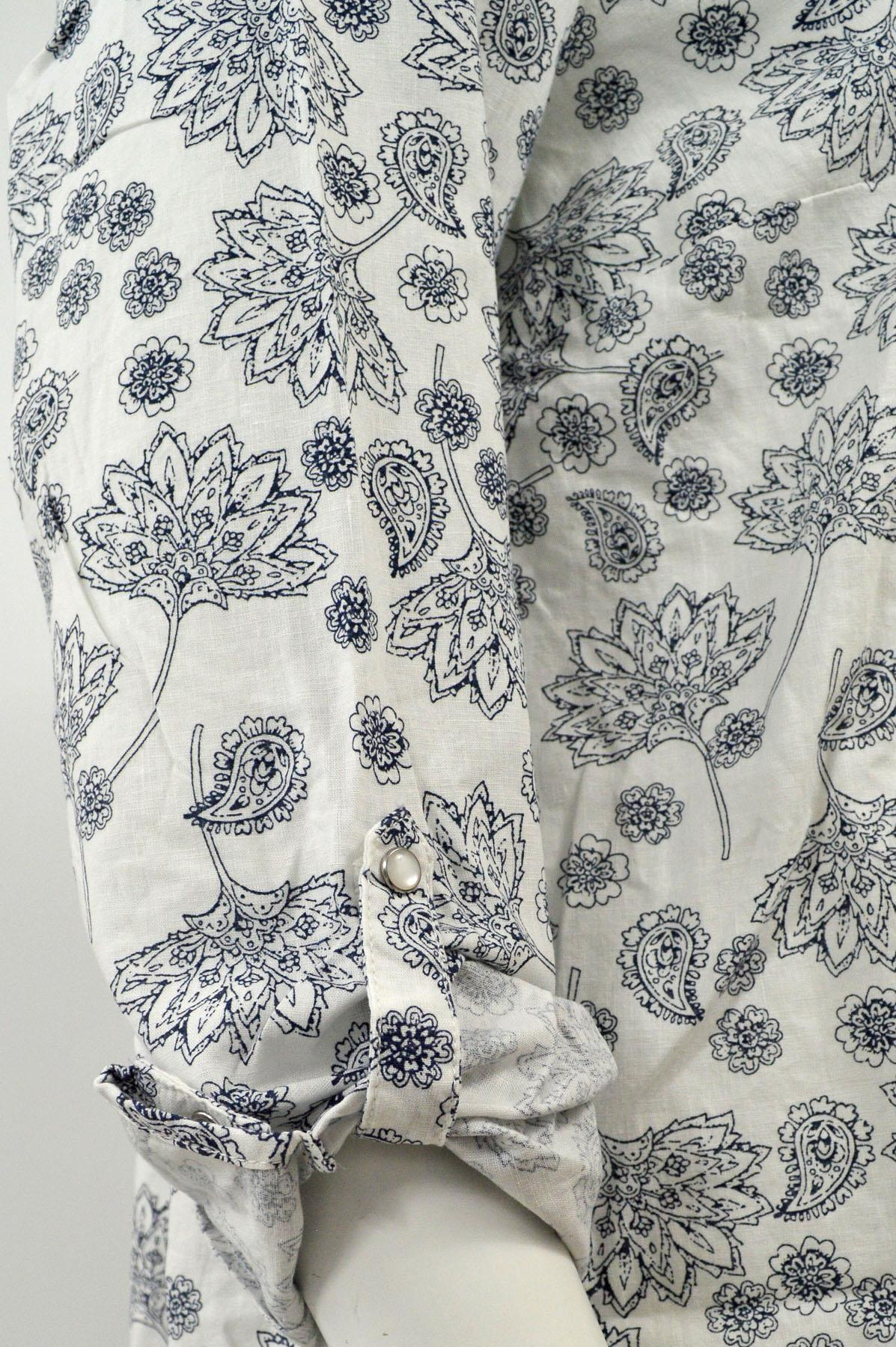 NEW-Ex-C-amp-A-Ladies-Navy-Ivory-Floral-Long-Linen-Shirt-Curved-Hem-Size-16-34 thumbnail 16