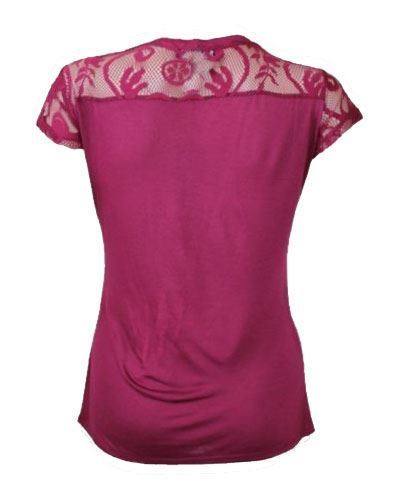 Ex-Morgan-Lace-T-Shirt-Jersey-Top-Dark-Red-Cream-or-Black-Size-XS-XL thumbnail 12