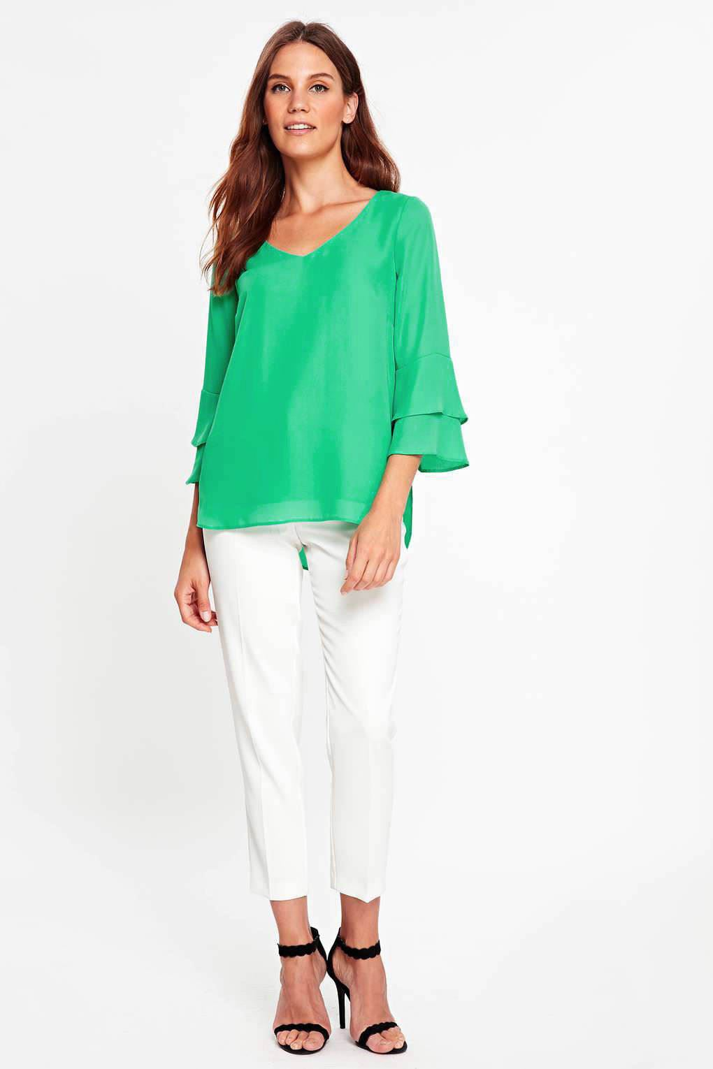 5ed3c3a8ca6683 Ex Wallis Silky Blouse With Double Bell Sleeve Green Or White New ...