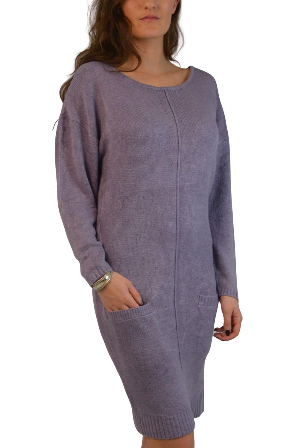 Womens-Soft-Long-Jumper-Dress-Round-Neck-Front-Pockets-Lilac-Black-Pink thumbnail 9
