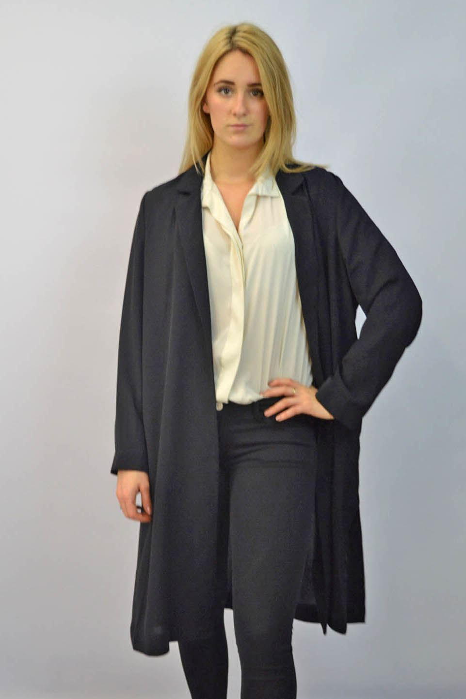 MARKS-AND-SPENCER-Black-or-Navy-Unlined-Crepe-Duster-Coat-SALE-Was-45 thumbnail 8