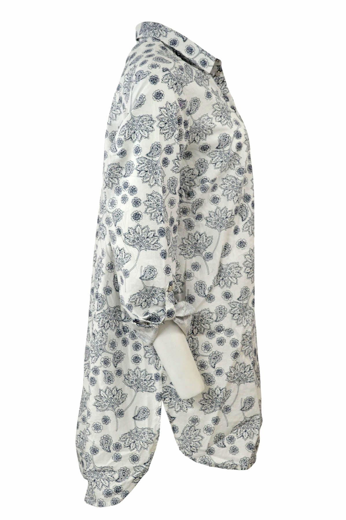 NEW-Ex-C-amp-A-Ladies-Navy-Ivory-Floral-Long-Linen-Shirt-Curved-Hem-Size-16-34 thumbnail 17