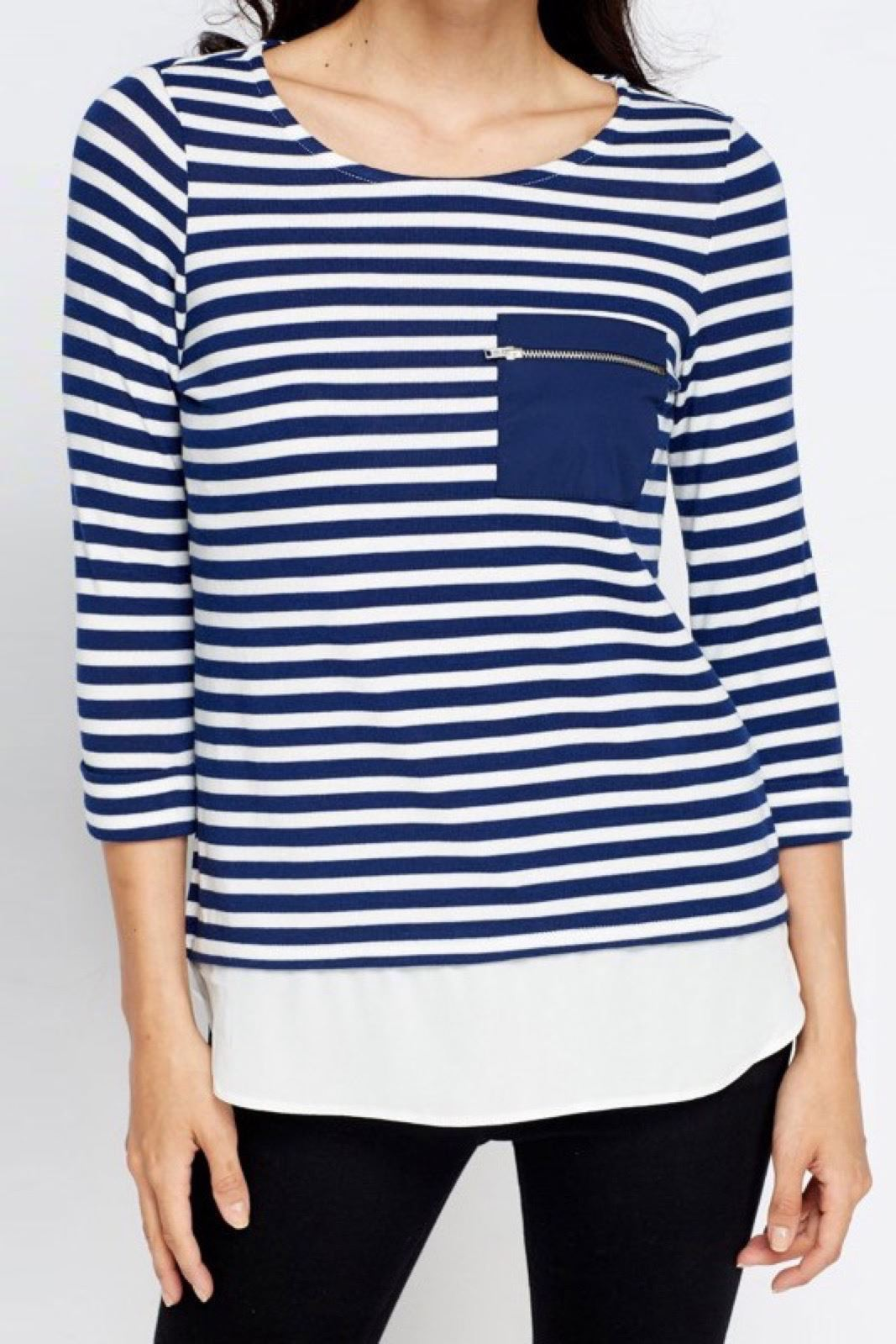 NEW-Ex-Dorothy-Perkins-Stripe-Jersey-Henley-Top-Mock-Layered-Tunic-Size-8-18 thumbnail 8