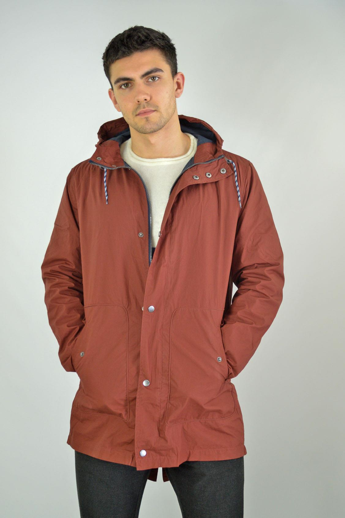 BURTON Mens Burgundy Rainwear Parka Jacket Long Length RRP £55