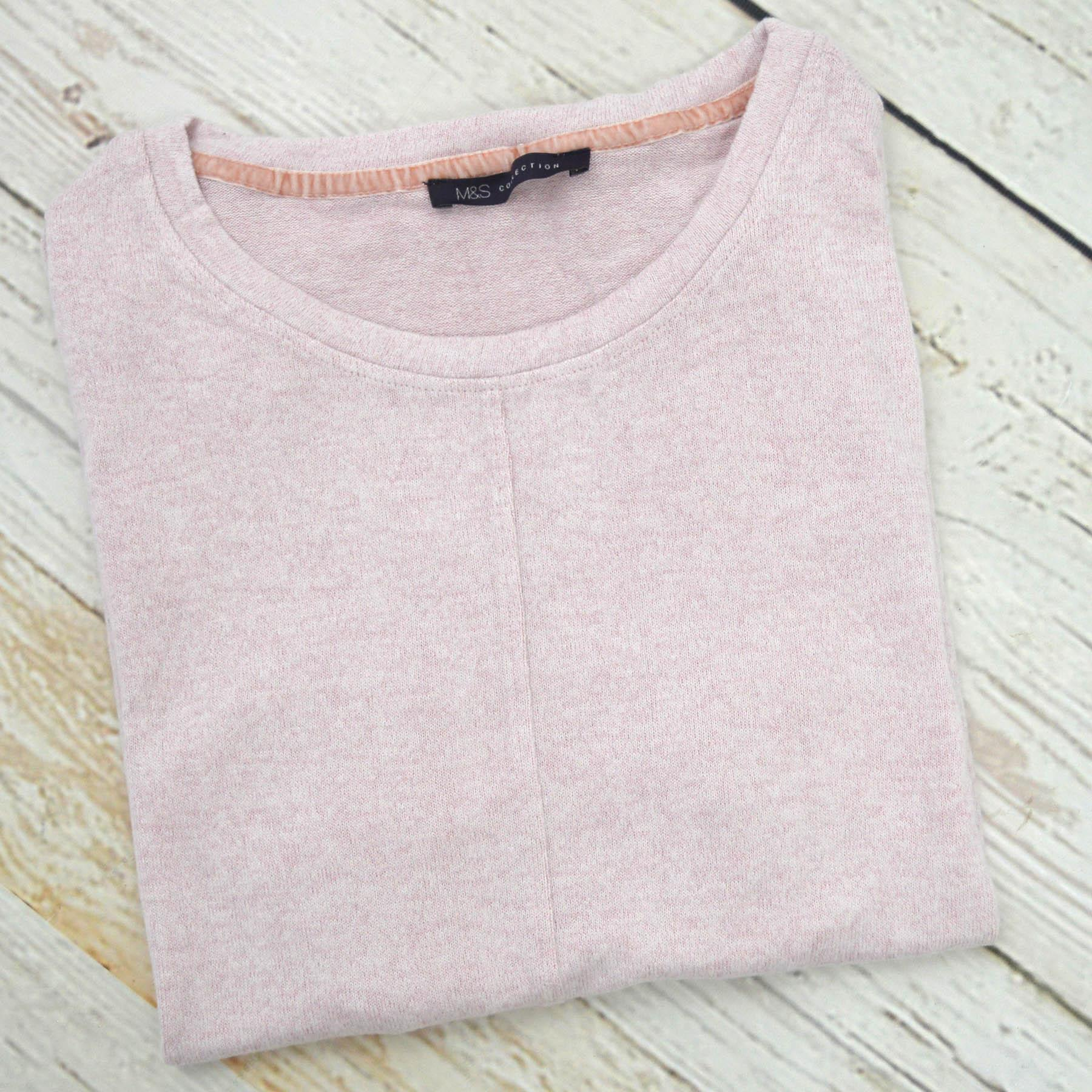 Ex-M-amp-S-Round-Neck-Fine-Knit-Short-Sleeve-Jumper-Top-Pale-Pink-or-Navy-Size-8-24 thumbnail 16