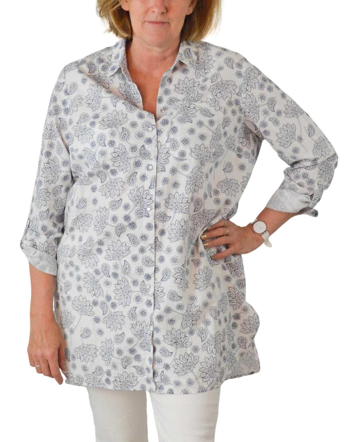 NEW-Ex-C-amp-A-Ladies-Navy-Ivory-Floral-Long-Linen-Shirt-Curved-Hem-Size-16-34 thumbnail 15