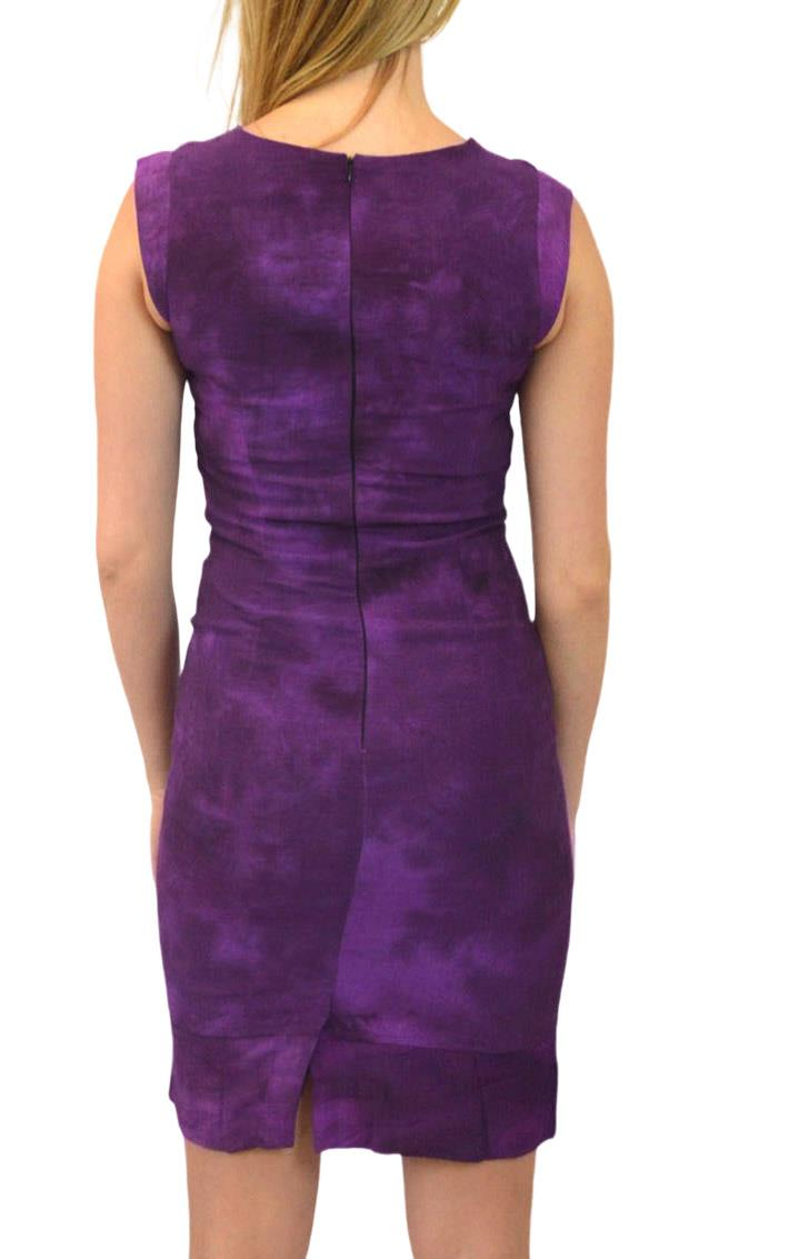Sleeveless-Office-Silk-Shift-Dress-Work-Green-or-Purple-Size-8-10-12-16 thumbnail 12