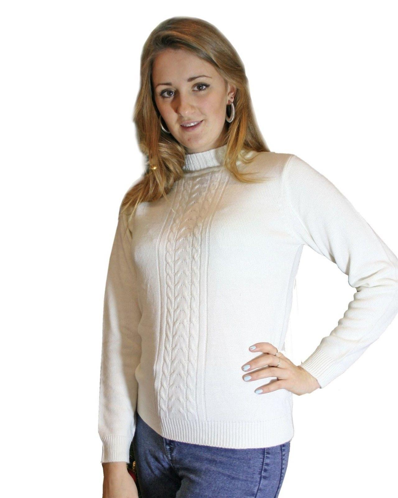 ex-EWM-Womens-Turtle-Neck-Cable-Knit-Jumper-Twist-Knit-Winter-Pullover thumbnail 9