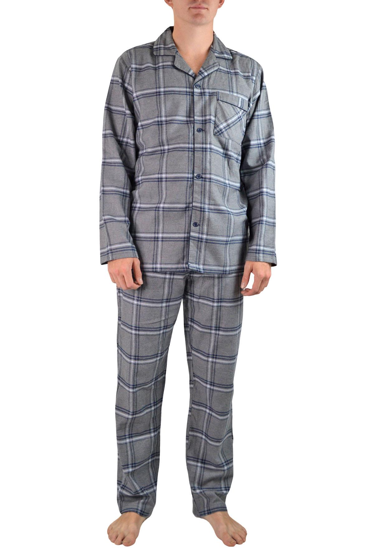 NEW-Mens-Brushed-Pure-Cotton-Check-Pyjamas-Flannelette-PJ-Set-in-Blue-Red-Grey thumbnail 8