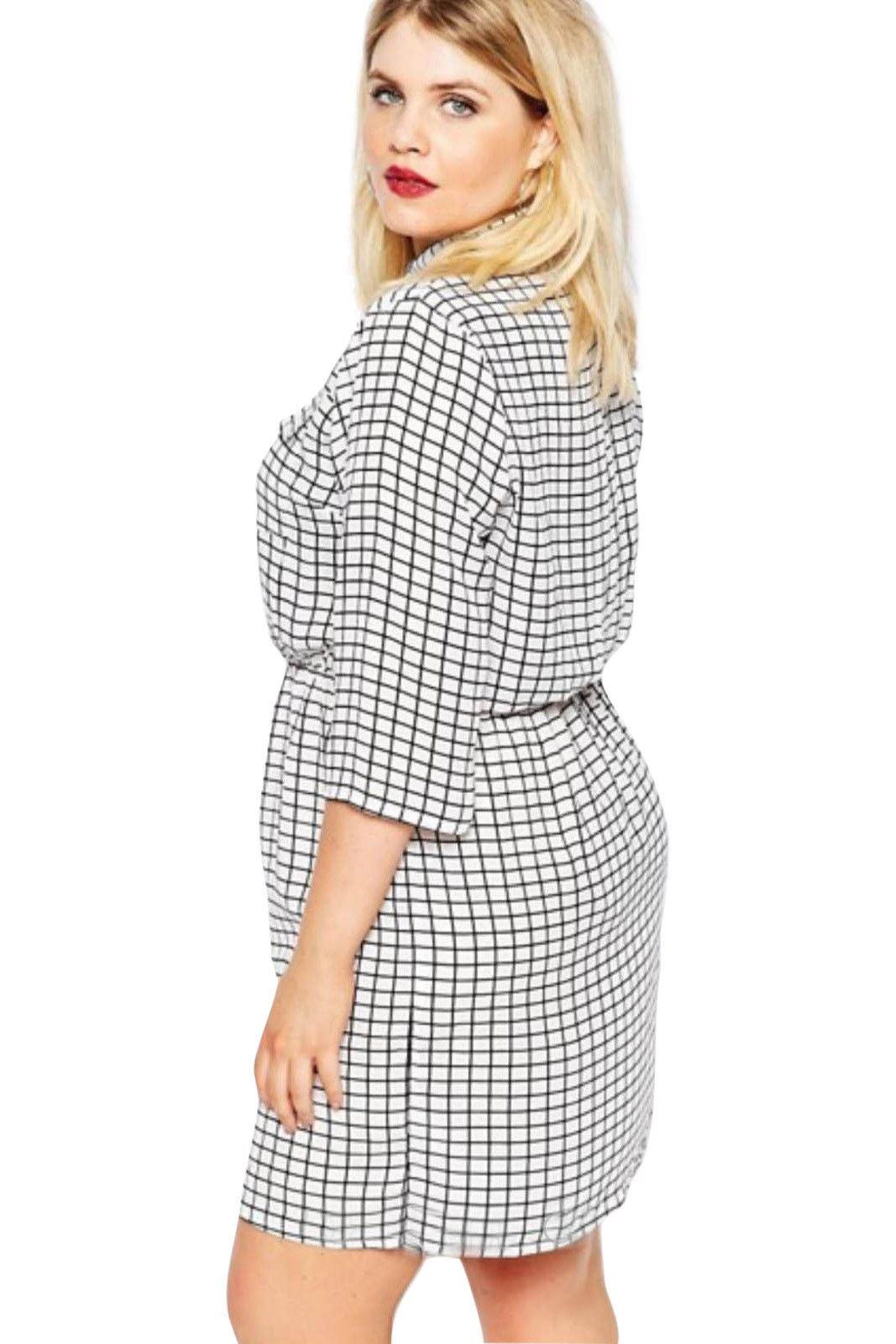 378d22032e48 BOOHOO Ivory Black Check Dress or Long Shirt Top | SALE | Was £22 | eBay