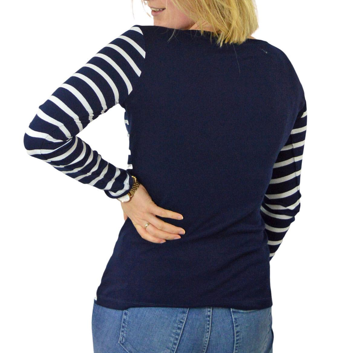 NEW-NEXT-Ladies-Black-or-Navy-White-Stripe-Long-Sleeve-T-Shirt-Top thumbnail 11