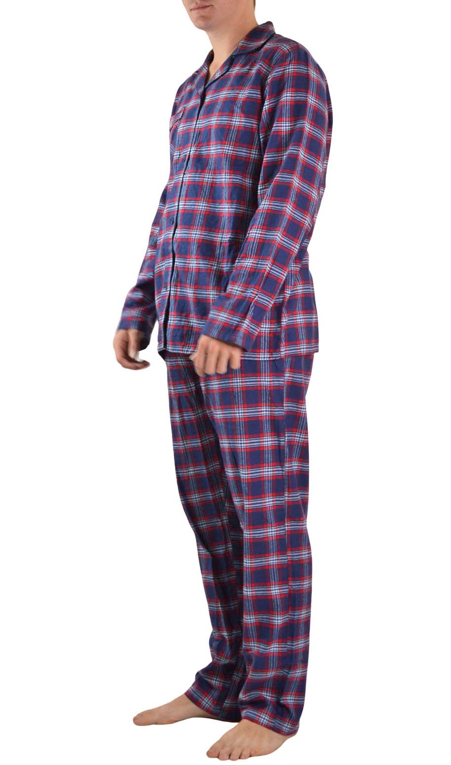 NEW-Mens-Brushed-Pure-Cotton-Check-Pyjamas-Flannelette-PJ-Set-in-Blue-Red-Grey thumbnail 14