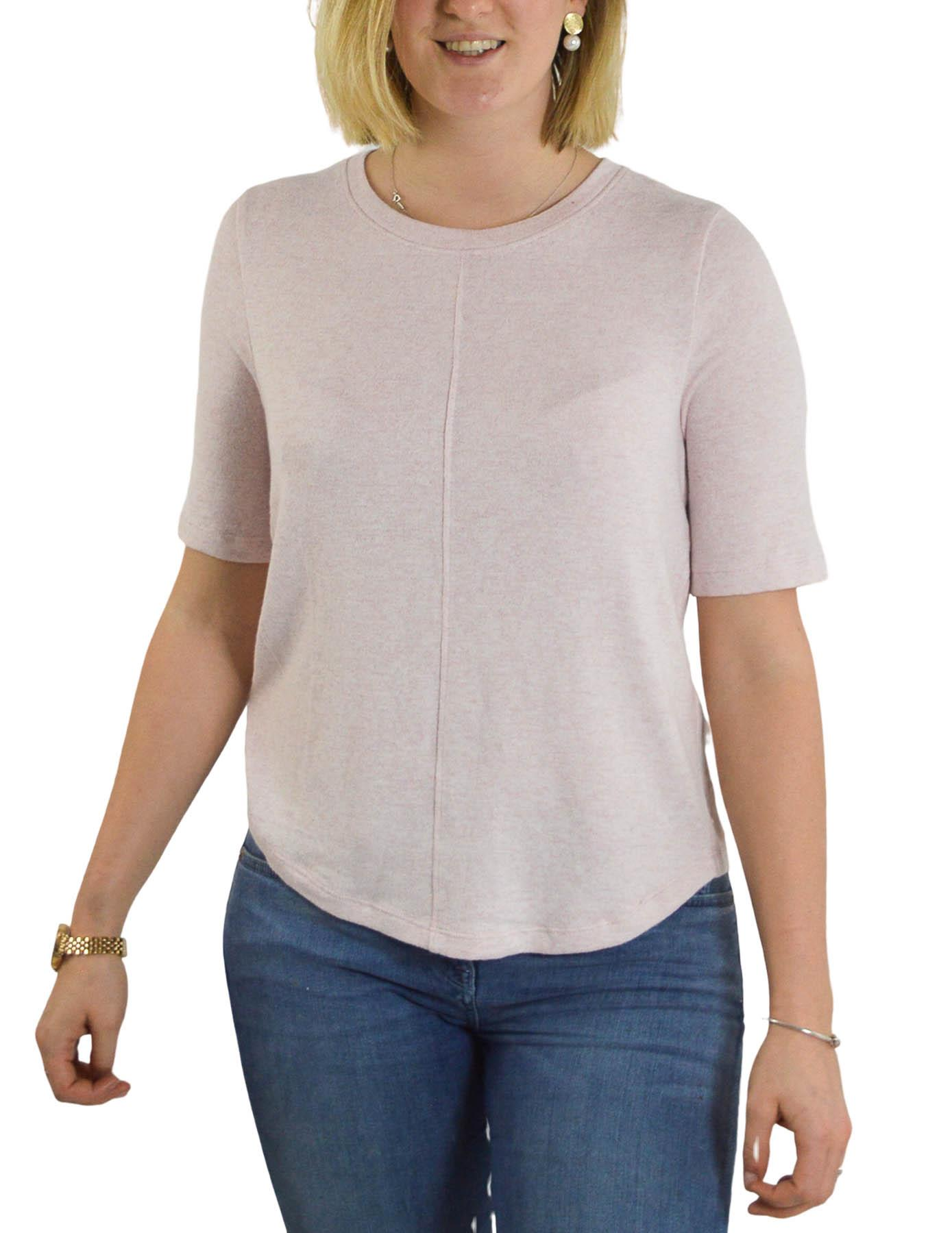 Ex-M-amp-S-Round-Neck-Fine-Knit-Short-Sleeve-Jumper-Top-Pale-Pink-or-Navy-Size-8-24 thumbnail 13