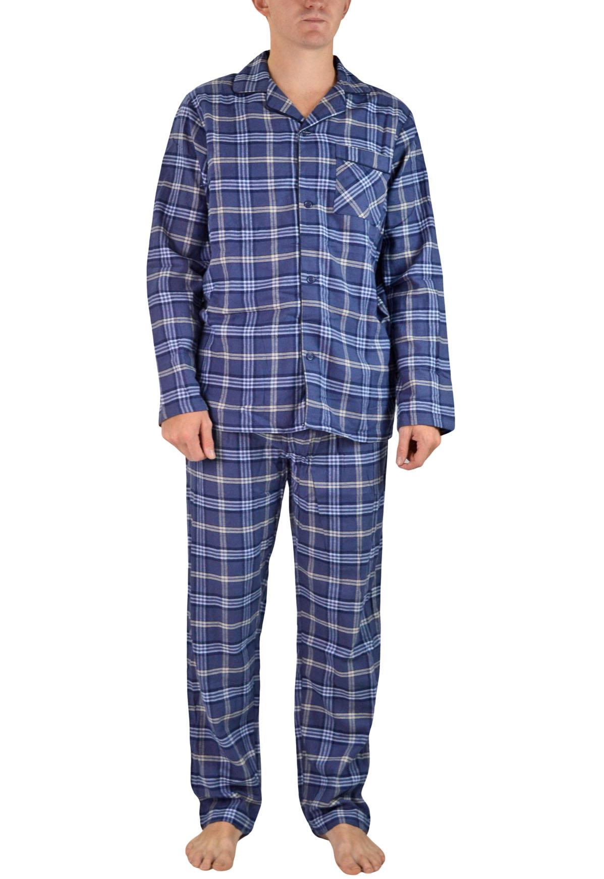 NEW-Mens-Brushed-Pure-Cotton-Check-Pyjamas-Flannelette-PJ-Set-in-Blue-Red-Grey thumbnail 4