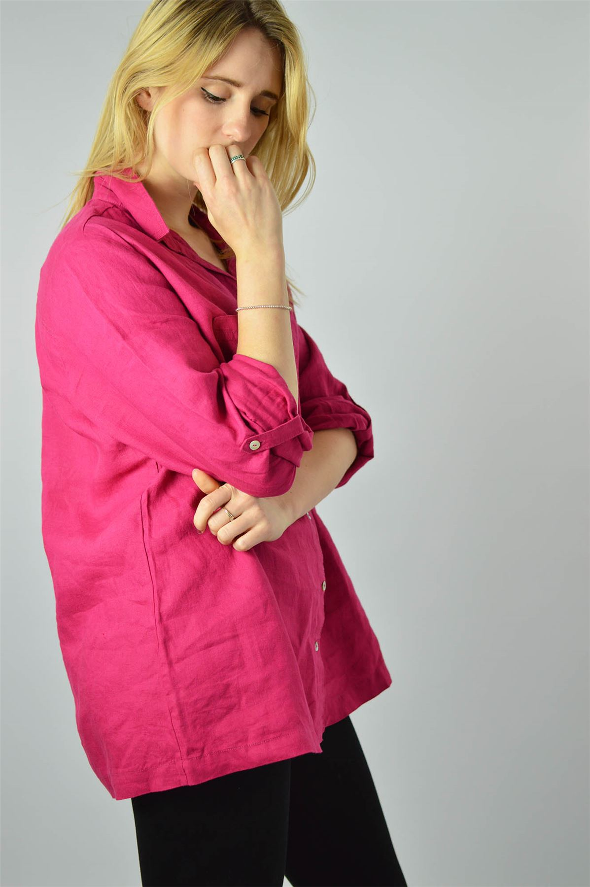 YESSICA-Linen-Blouse-Shirt-in-Pink-or-Ivory-RRP-25 thumbnail 11
