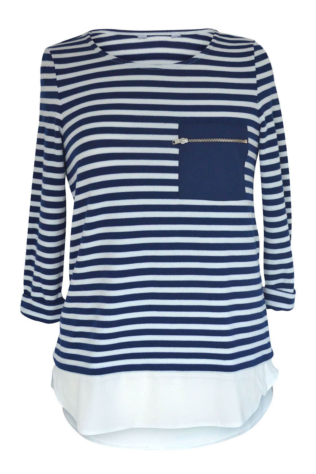 NEW-Ex-Dorothy-Perkins-Stripe-Jersey-Henley-Top-Mock-Layered-Tunic-Size-8-18 thumbnail 7