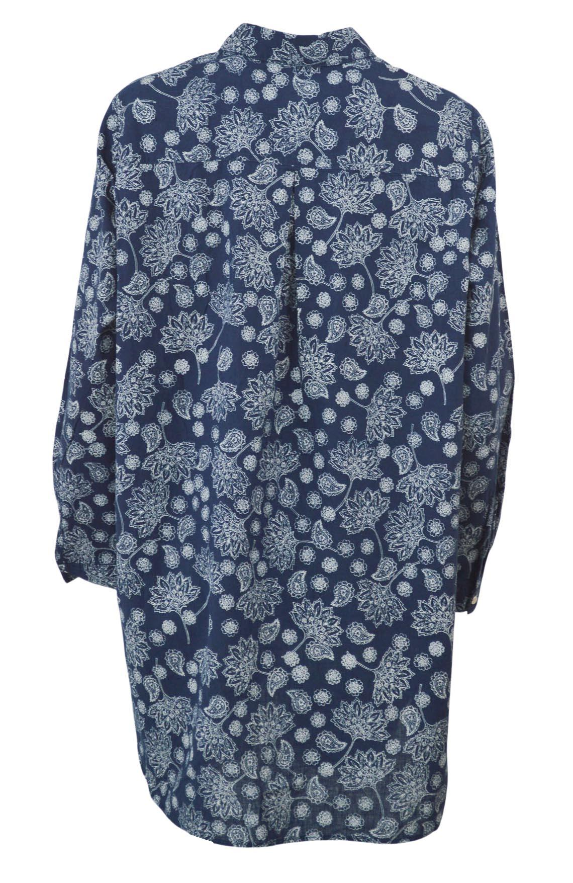 YESSICA-Womens-Ivory-Navy-Floral-Linen-Cotton-Long-Sleeve-Shirt-RRP-28 thumbnail 12