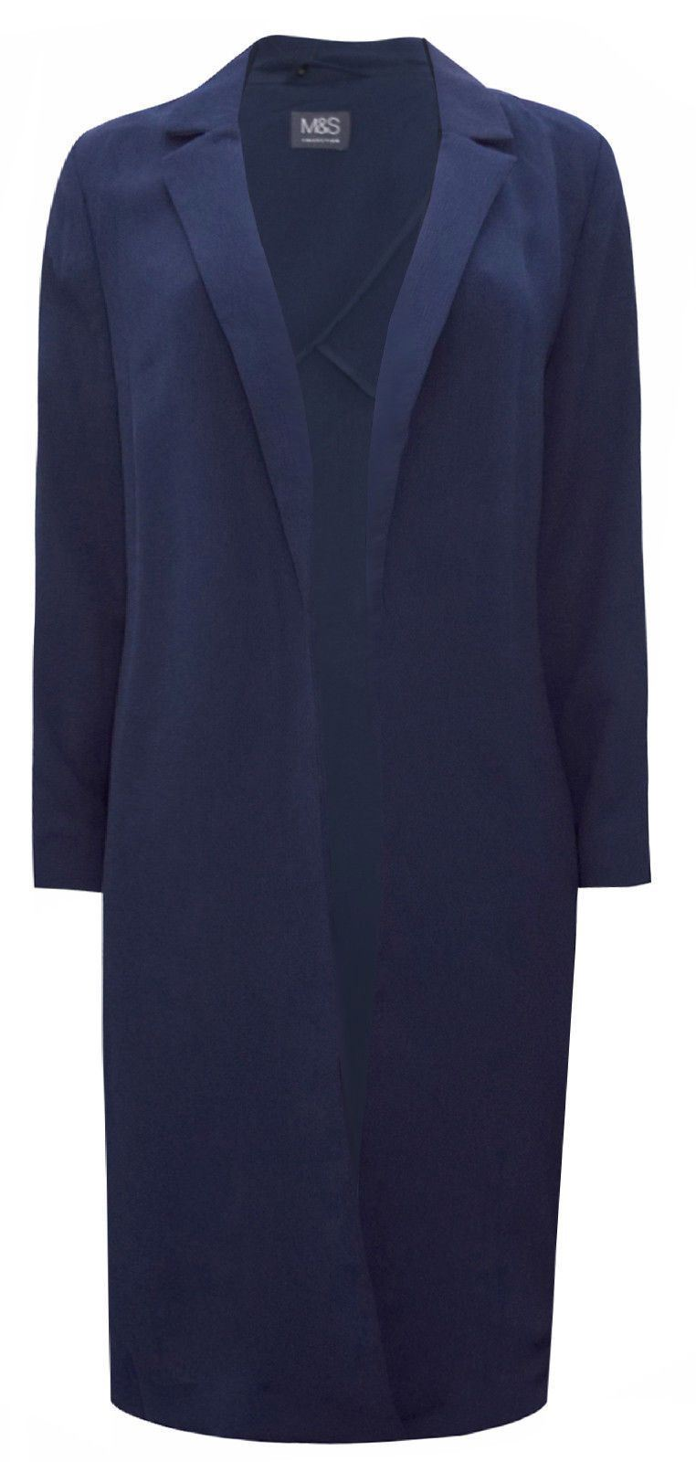 MARKS-AND-SPENCER-Black-or-Navy-Unlined-Crepe-Duster-Coat-SALE-Was-45 thumbnail 11
