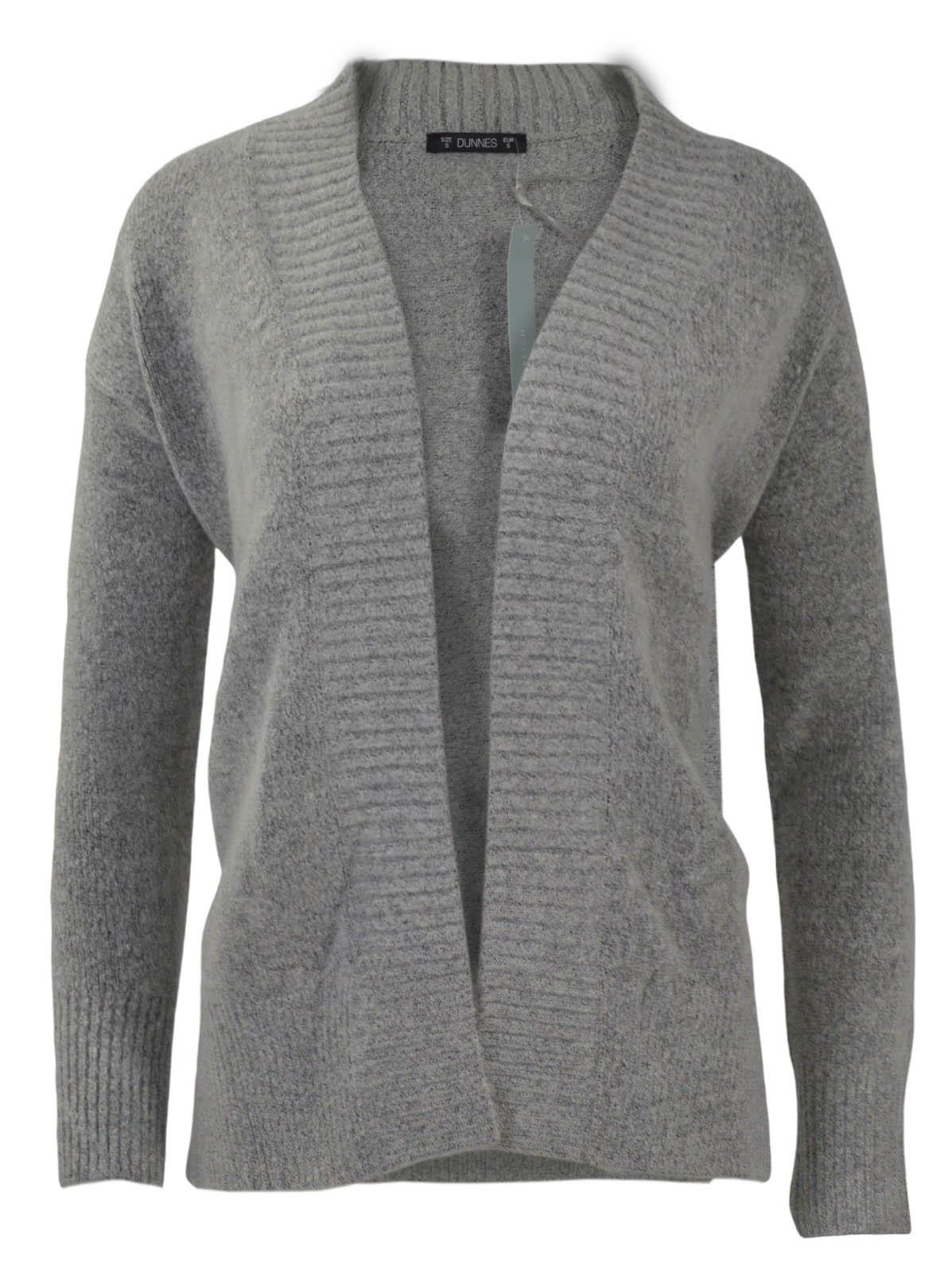 Womens-Open-Front-Cardigan-Ribbed-Edges-Chunky-Knit-Side-Splits-Burgundy-Grey thumbnail 10