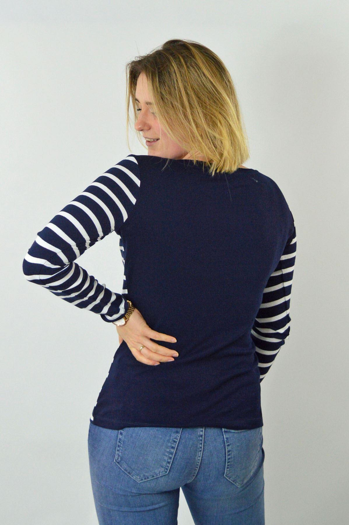 Womens-Crew-Neck-Navy-Black-White-Striped-Jersey-Top-Long-Sleeve-T-Shirt thumbnail 12