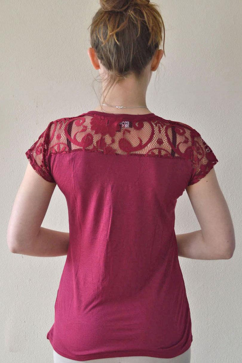 MORGAN-Lace-Trim-T-Shirt-Top-Burgundy-White-or-Black-SALE-Was-22 thumbnail 14