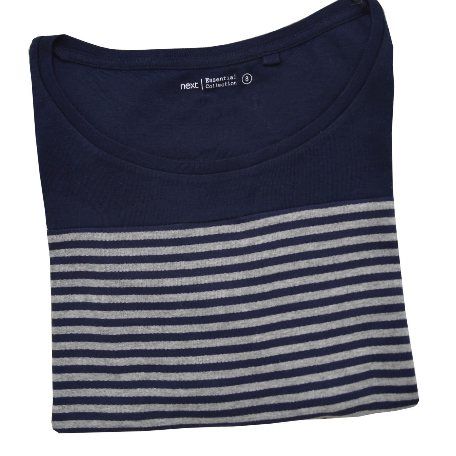 Femmes-a-Rayures-T-shirt-manches-longues-haut-en-jersey-col-rond-kaki-ou-Bleu-marine-Taille-6-24 miniature 10