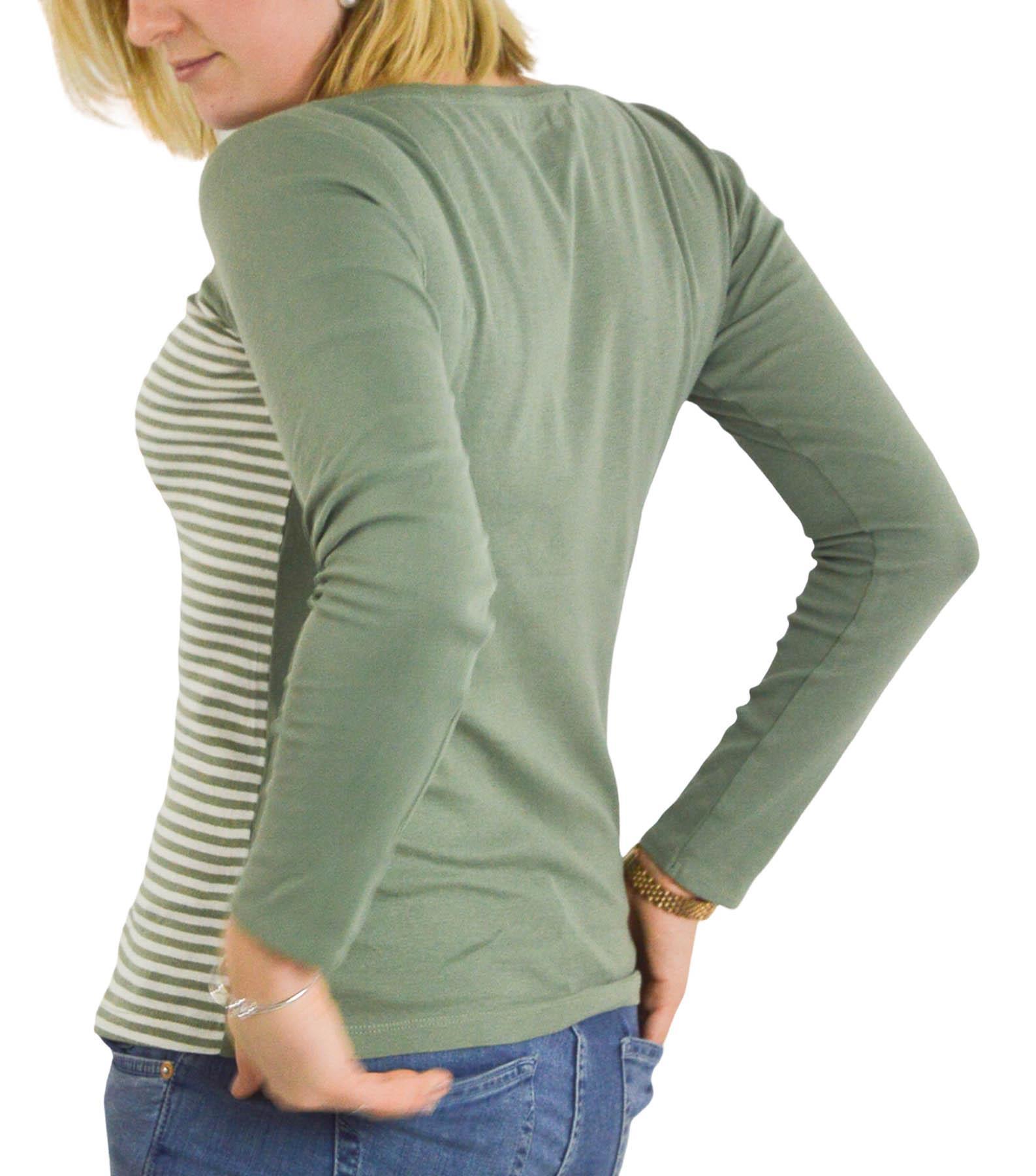 Femmes-a-Rayures-T-shirt-manches-longues-haut-en-jersey-col-rond-kaki-ou-Bleu-marine-Taille-6-24 miniature 7