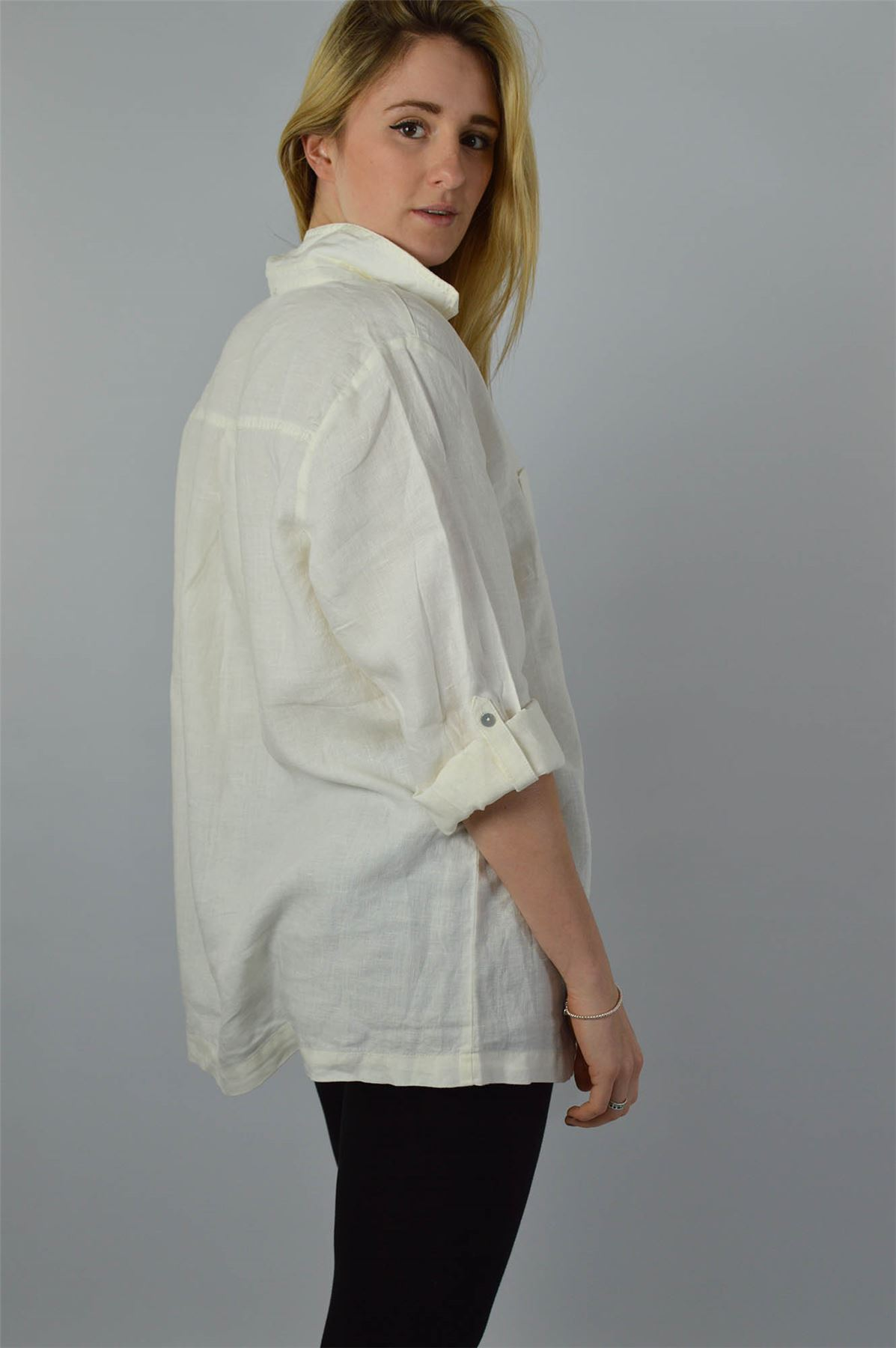 YESSICA-Linen-Blouse-Shirt-in-Pink-or-Ivory-RRP-25 thumbnail 8