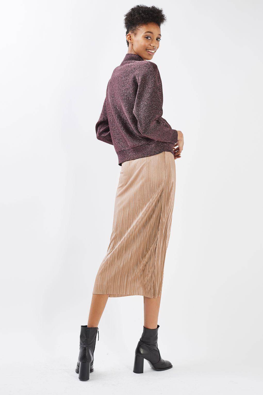 TOPSHOP Plisse Wrap Midi Skirt in Nude Sizes 6 to 14