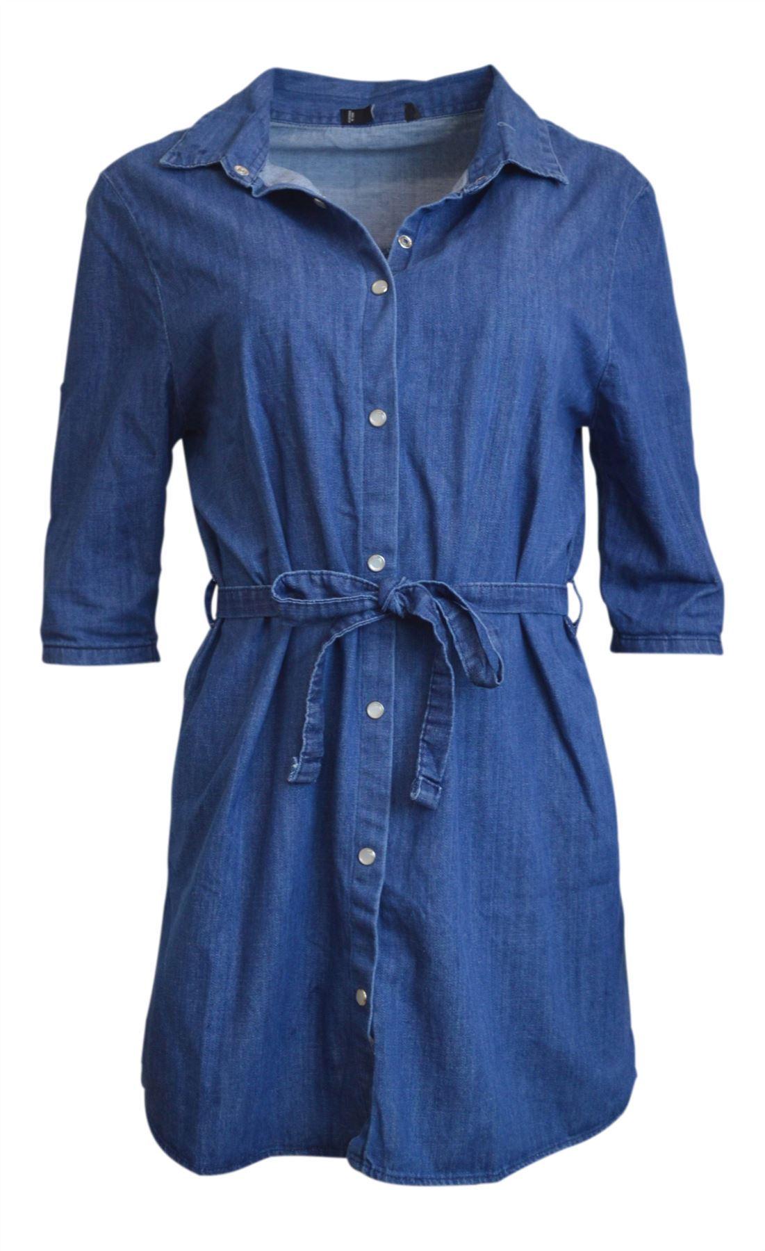 26f325fa11e Details about Ex Mango Womens Blue Denim Shirt Dress Tie Waist Tall Long  Top Size M L