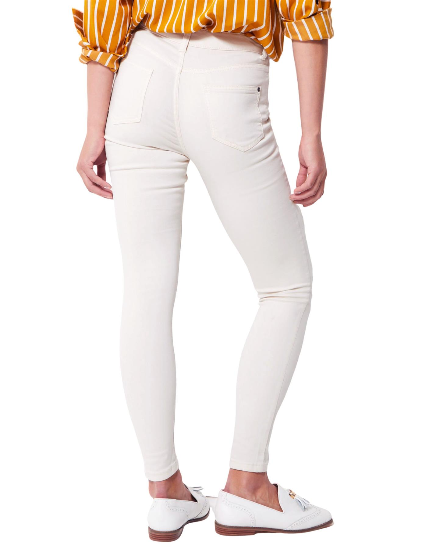 Ex M/&S Womens Ivory Cream Skinny Slim Leg Jeans Plait Trim Short Reg Long