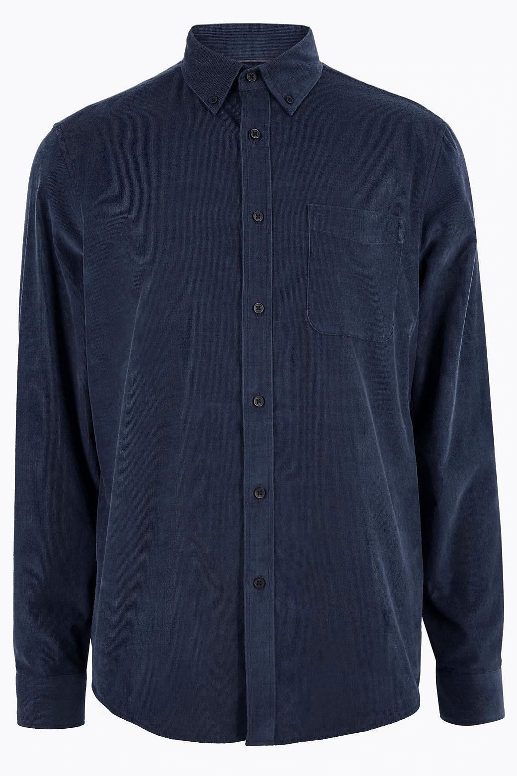 M-amp-S-Marks-and-Spencer-Mens-Fine-Cotton-Corduroy-Needlecord-Shirt thumbnail 26