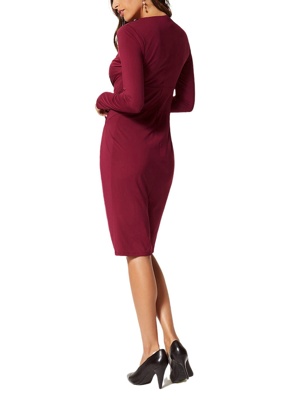 Ex-M-amp-S-Marks-Spencer-Tie-Front-Stretch-Midi-Dress-Burgundy-or-Black-Size-6-22 thumbnail 7