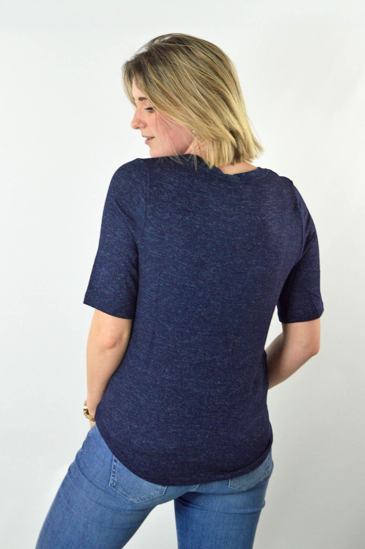 MARKS-AND-SPENCER-M-amp-S-Soft-Knit-Scoop-Neck-Top-Curved-Hem-Pale-Pink-Dark-Navy thumbnail 4