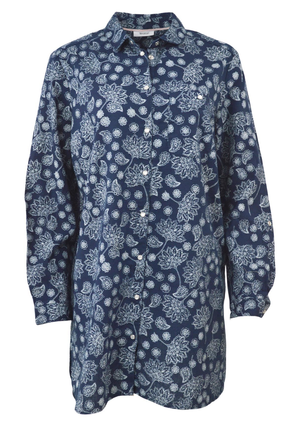 YESSICA-Womens-Ivory-Navy-Floral-Linen-Cotton-Long-Sleeve-Shirt-RRP-28 thumbnail 11