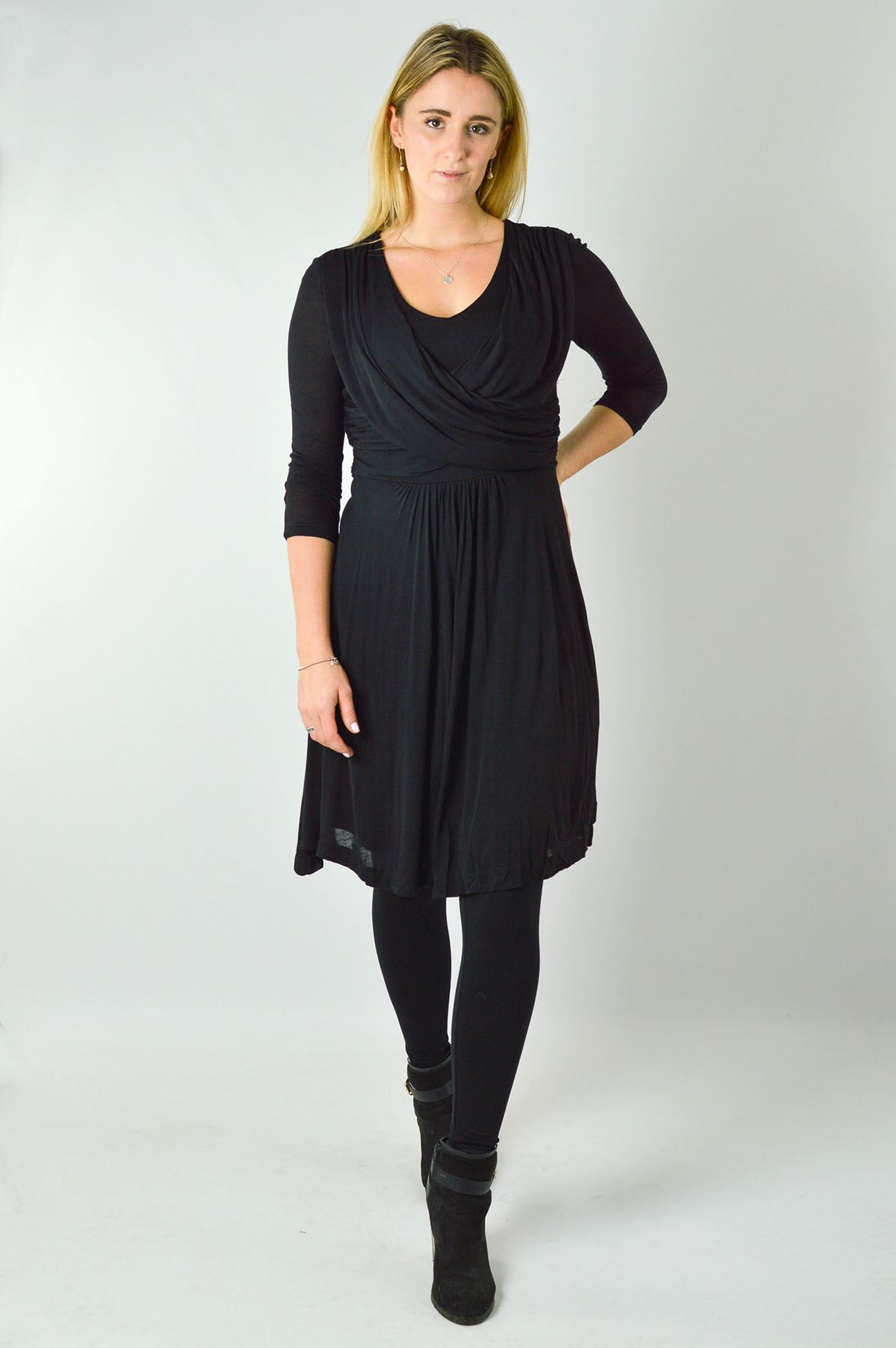 NEW-French-Connection-Wrap-Dress-Fine-Jersey-3-4-Sleeve-in-Green-Black-or-Wine thumbnail 6