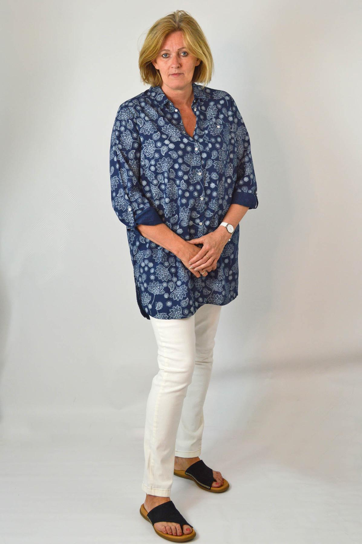 YESSICA-Womens-Ivory-Navy-Floral-Linen-Cotton-Long-Sleeve-Shirt-RRP-28 thumbnail 10