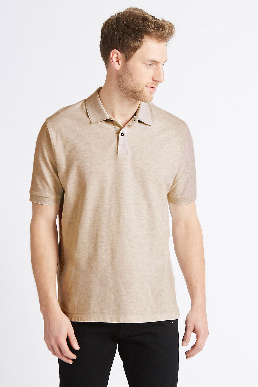 Ex-Marks-and-Spencer-Mens-Cotton-Pique-Polo-Shirt-NEW-Sizes-S-3XL thumbnail 4