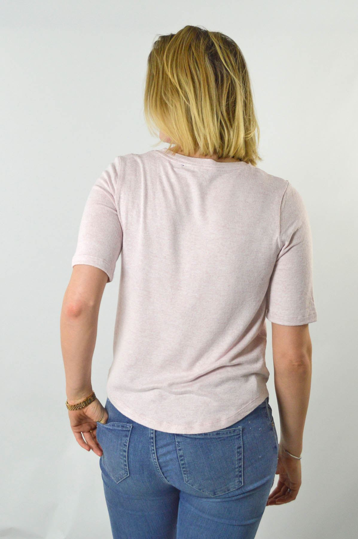 MARKS-AND-SPENCER-M-amp-S-Soft-Knit-Scoop-Neck-Top-Curved-Hem-Pale-Pink-Dark-Navy thumbnail 10
