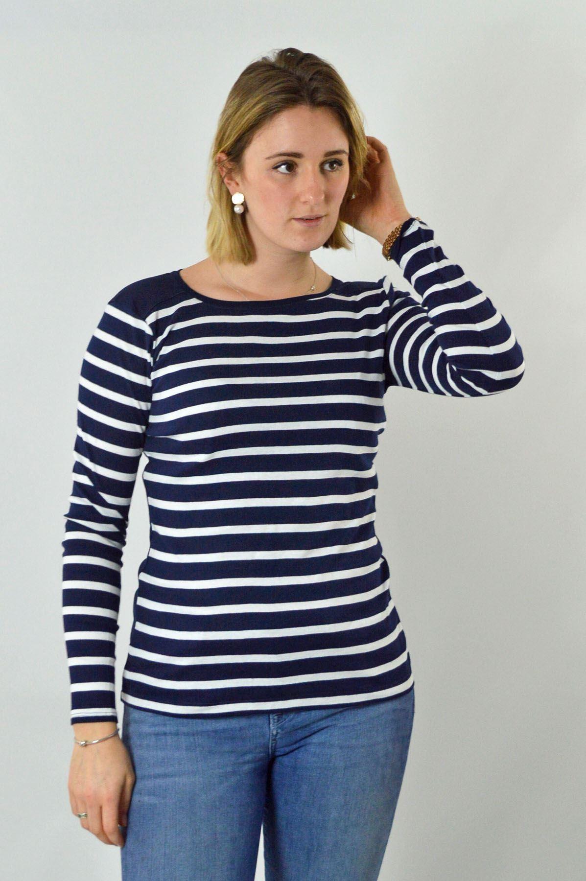 Womens-Crew-Neck-Navy-Black-White-Striped-Jersey-Top-Long-Sleeve-T-Shirt thumbnail 11