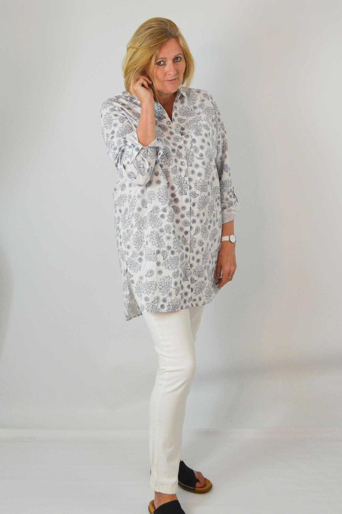 YESSICA-Womens-Ivory-Navy-Floral-Linen-Cotton-Long-Sleeve-Shirt-RRP-28 thumbnail 15
