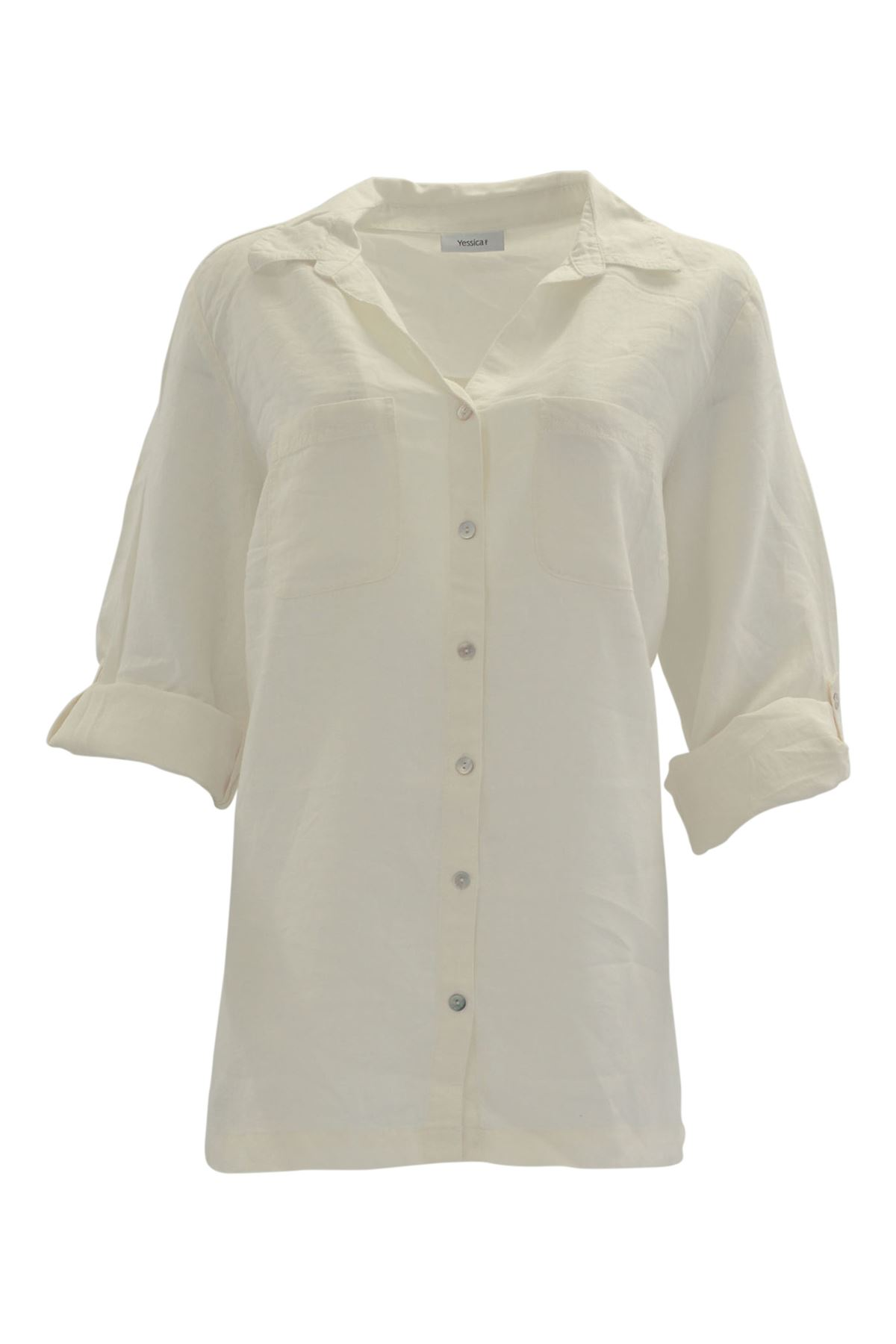 YESSICA-Linen-Blouse-Shirt-in-Pink-or-Ivory-RRP-25 thumbnail 9