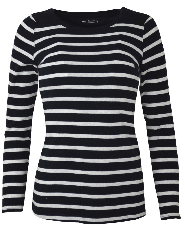 NEXT-Ladies-Black-or-Navy-White-Stripe-Long-Sleeve-T-Shirt-Top thumbnail 7