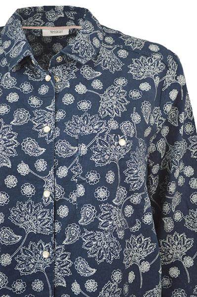 NEW-Ex-C-amp-A-Ladies-Navy-Ivory-Floral-Long-Linen-Shirt-Curved-Hem-Size-16-34 thumbnail 10